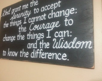 AA Serenity Prayer Wood Inspirational SIGN Reclaimed Wooden Black Alcoholics Anonymous Serenity Courage Wisdom 13x22 Whagn
