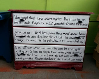 MIND GAMES John Lennon OOAK Lyrics Dresser Rustic Cajun Red White Vintage Shabby Chic Distressed Buffet Sideboard Salvaged Refinished Whagn