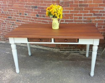 Dining Farmhouse TABLE Console Buffet Sideboard Table SALVAGED upcycled drawers WHAGN