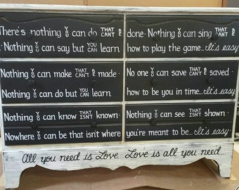 All You Need is Love OOAK Lyrics Dresser Black White Vintage Shabby Chic Distressed Buffet Sideboard Salvaged Refinished Whagn