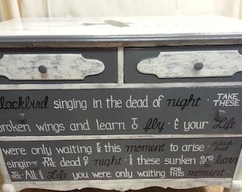 Blackbird OOAK Lyrics Dresser Rustic Black White Vintage Shabby Chic Distressed Buffet Sideboard Salvaged Refinished Whagn