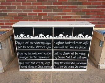 Oceans Where Feet May Fail OOAK Lyrics Dresser Rustic Black White Vintage Shabby Chic Distressed Buffet Sideboard Salvaged Refinished Whagn