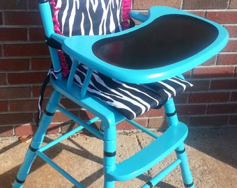 CUSTOM Teal Black White Wood Highchair Salvaged diva shabby Chic Distressed Refinished WHAGN