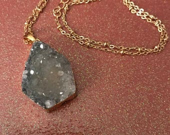 Smokey blue druzy quartz crystal necklace on gold plated chain