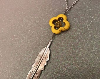 Silver feather topaz crystal and yellow stone necklace