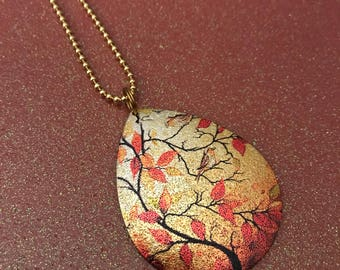 Fall necklace orange gold leaves bird
