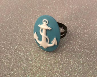 White blue anchor ring adjustable