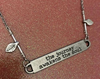 The journey awakens the soul silver necklace