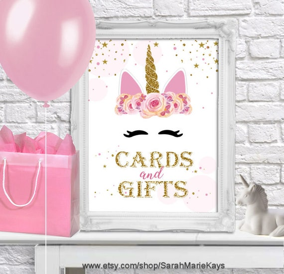 Printable Unicorn Birthday Party Cards And Gifts Sign