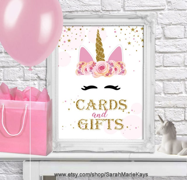 Printable Unicorn Birthday Party Cards And Gifts Sign Print Outs DIY Printouts
