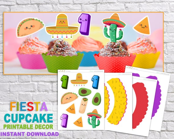 graphic relating to Cinco De Mayo Printable Decorations referred to as A person Calendar year Cupcake Toppers And Wraps, Initial Fiesta Decorations, Uno Fiesta, Cinco de mayo, Printable Documents, Cactus, Taco Birthday