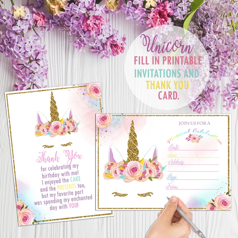 graphic about Printable Unicorn Invitations called Printable Unicorn Fill Within just Invites And Thank By yourself Playing cards, Unicorn Print Outs, Unicorn Invitation, Do-it-yourself Printouts