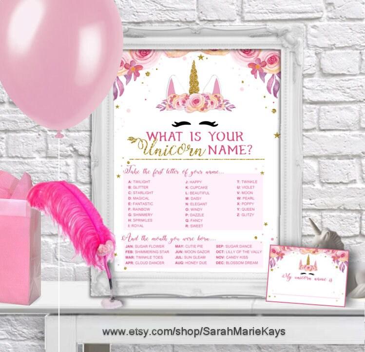 Printable Unicorn Birthday Party Name Game Unicorn Print