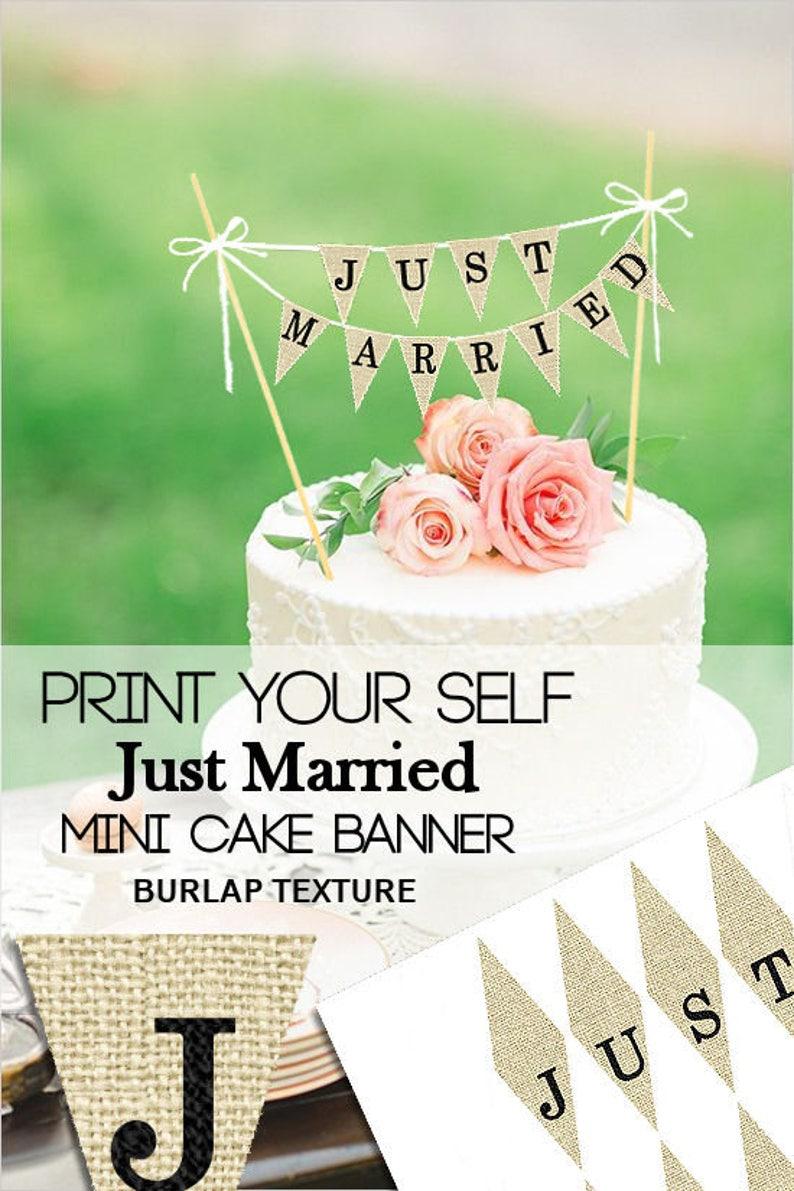 image relating to Cake Banner Printable named Precisely Married Mini Cake Banner, Printable Marriage Cake Topper Banner, Burlap Wedding ceremony Cake, Banner, Rustic Mini Cake Banner, Do it yourself Banner