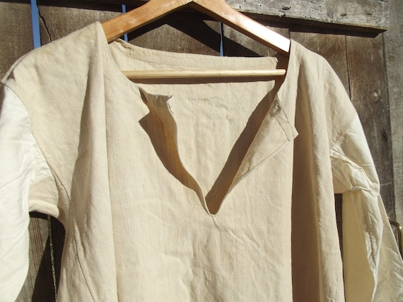 Antique French peasant Linen Smock Farmers Shirt T