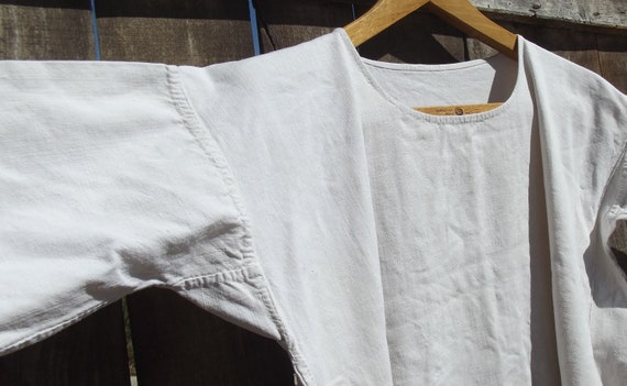 Antique French Smock Chanvre Linen Tunic Robe Dre… - image 3