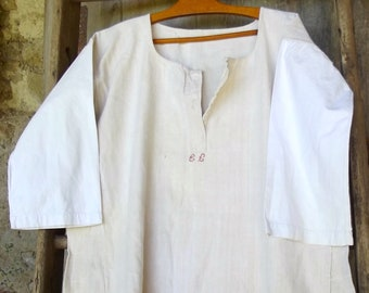 Antique  French peasant Linen Smock Farmers Shirt Tunic Handstitched
