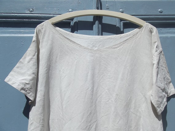 Antique French Calico Linen Shift Dress - image 7
