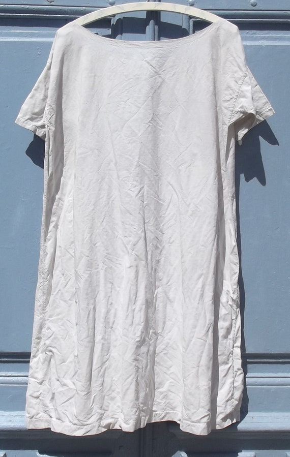 Antique French Calico Linen Shift Dress - image 5