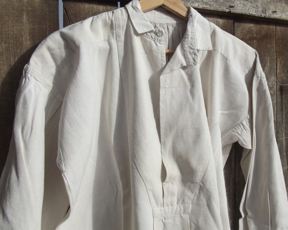 Antique French Shirt Gents chanvre Linen Shirt Smo