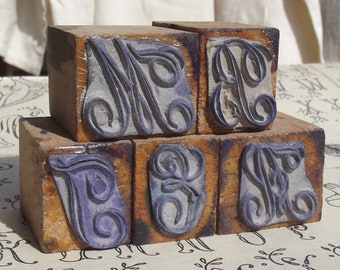 Antique French Monogram Letter Stamp embroidery Trousseau Linen Pattern Print CHOOSE