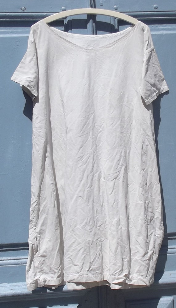 Antique French Calico Linen Shift Dress - image 2