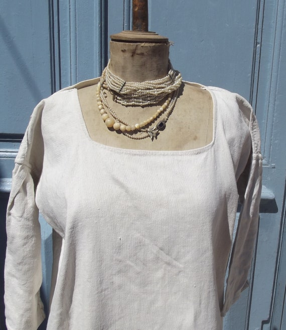 Antique French Smock Chanvre Linen Tunic Robe Dres