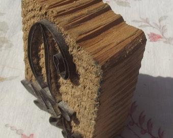 Antique French Printing Block Provencal letter wood blocks patterned Monogram stamp