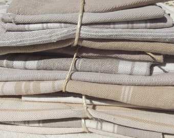 Bundle Vintage French Ticking Fabric Mixed Stripe Beige Natural Brown Buff Ecru  Pieces