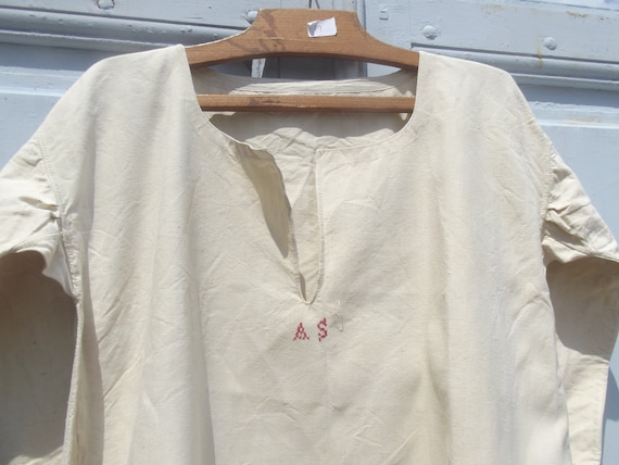 Antique French Workwear Smock Chanvre Linen Tunic