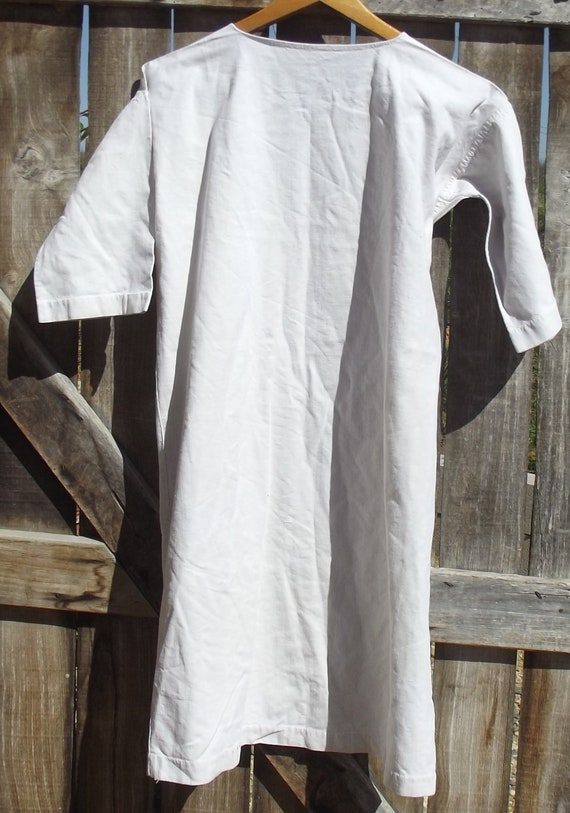 Antique French Smock Chanvre Linen Tunic Robe Dre… - image 9