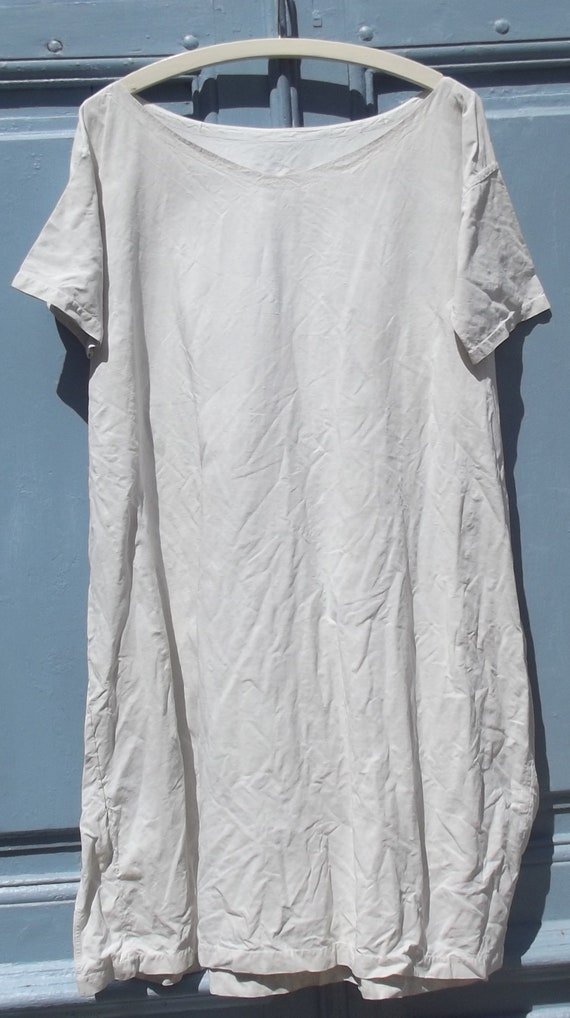 Antique French Calico Linen Shift Dress - image 4