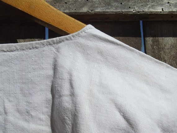 Antique French Smock Chanvre Linen Tunic Robe Dre… - image 8