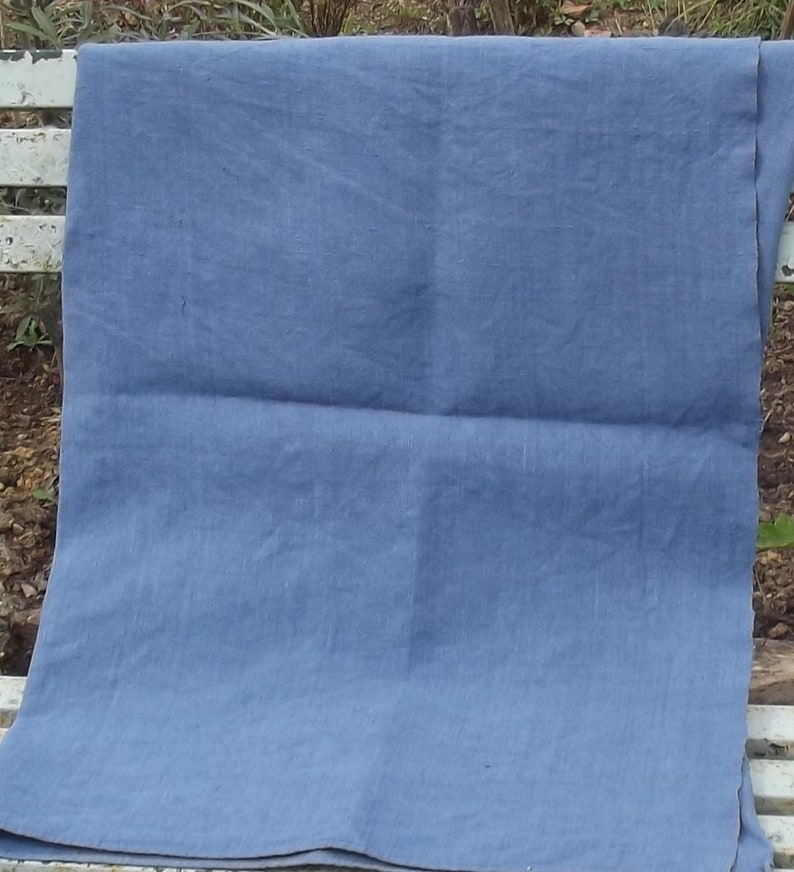 Vintage French Fabric Antique pure chanvre linen lovely weave loom width Woad Blue
