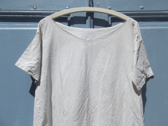 Antique French Calico Linen Shift Dress - image 6