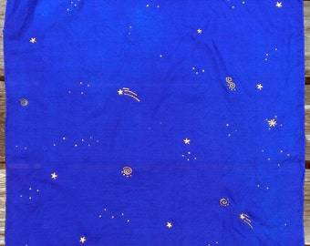 Evening Sky with Gold Stars Playsilk ~ ~ Hand Dyed & Hand Painted ~Waldorf Inspired Scarf!