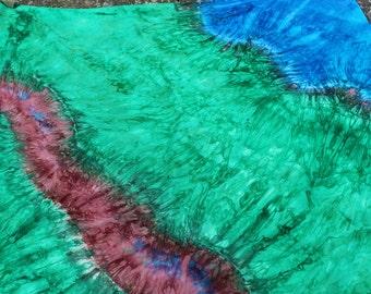 Corner Farm Pond & Walking Path Playsilk ~ Play Mat ~ Hand Dyed ~ Waldorf Inspired~