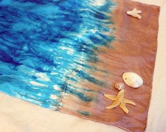 Beach Playsilk ~ Play Mat ~Ocean ~ Hand Dyed ~ Waldorf Inspired!
