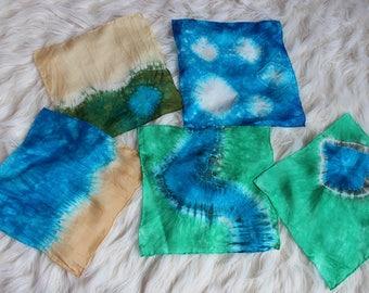 Landscape  Playsilk Set ~ 5 Silks! Savannah, Icebergs, Beach, River, Pond ~ Hand Dyed ~ Waldorf Inspired