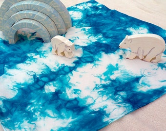 Free Form Ice Floe Playsilk ~ Play Mat ~ Hand Dyed ~ Waldorf Inspired ~ (silk only, toys not included)