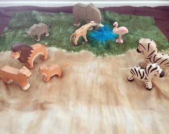 African Savannah Playsilk ~ Play Mat ~Desert ~ Hand Dyed ~ Waldorf Inspired!