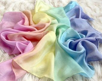 Pastel Rainbow Stripe Gradient Playsilks ~ Silk Scarf ~ Hand Dyed ~ Waldorf Inspired!
