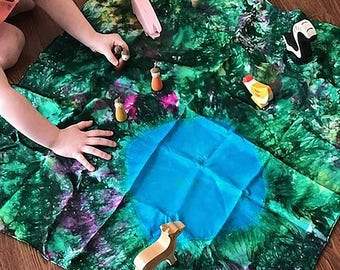 Wildflowers Playful Farm Pond Playsilk ~ Play Mat  ~ Hand Dyed ~ Waldorf Inspired~