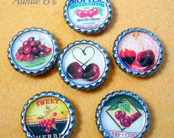 Cherries - Bottle Cap Magnets Set of 6
