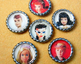 Barbie & Ken - Bottle Cap Magnets Set of 6