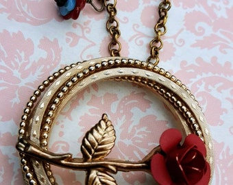 Signed Marvella double ring brooch