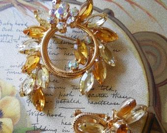 JULIANA Set w/ Amber Laurel Wreath Brooch & Earrings Verified     JBX34