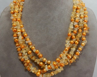 ROSS SIMONS Genuine Citrine Chip & Freshwater Pearl 4 Strand Necklace    PP14