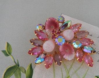 Pink JULIANA Pillowcase Art Glass Rhinestone Brooch   NBI30