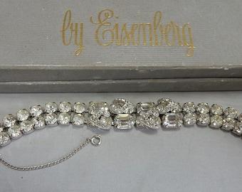 7df177fb7 Signed EISENBERG Large Swarovski Clear Crystal Rhinestone Bracelet in Orig.  Box PBI2